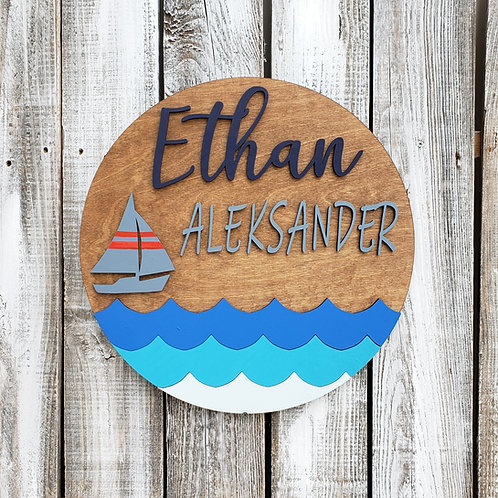 Custom Double Name Round Nautical Decor Sign
