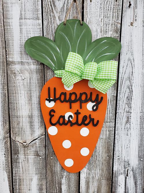 Carrot Happy Easter Bunny Spring Door Hanger