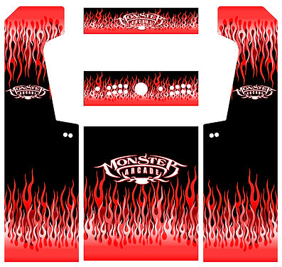 All-Red Flames Arcade Art