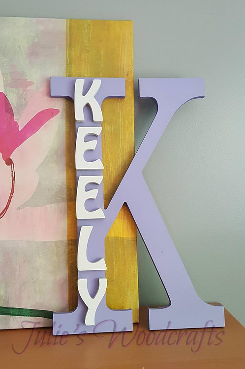 Wooden Custom Name Wall Sign with Block Letter Girls or Boys Bedroom