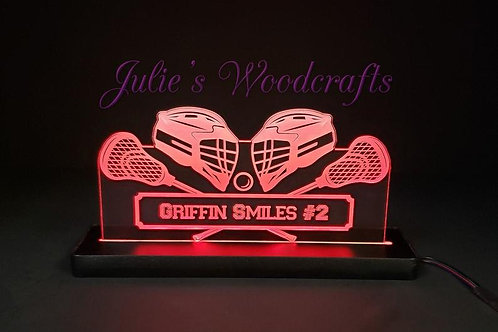 Lacrosse Custom Acrylic Name Sign Team or Coach Gift Trophy