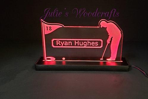 Golf Custom Acrylic Name Sign Team or Coach Gift Trophy