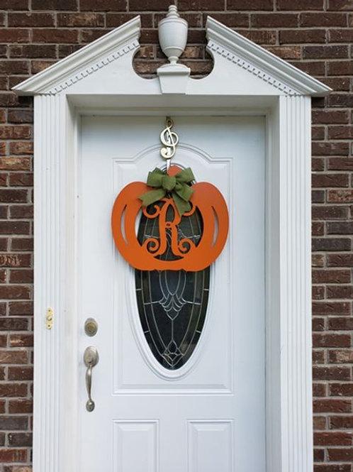 Unpainted Pumpkin Monogram Door Hanger
