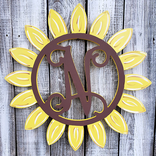 Monogram Sunflower with single Script Initial