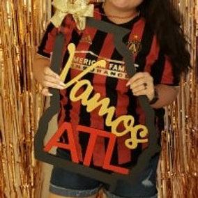Vamos ATL Atlanta United Wood Door Hanger Sign