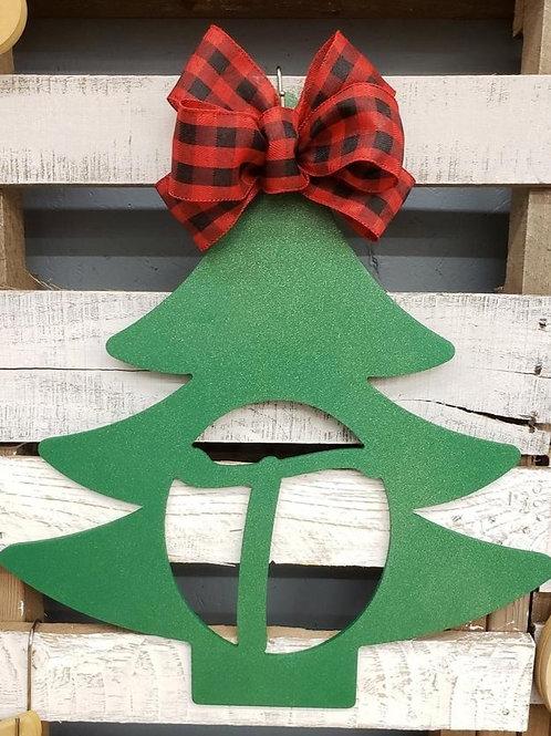 Unpainted Christmas Tree Monogram Door Hanger
