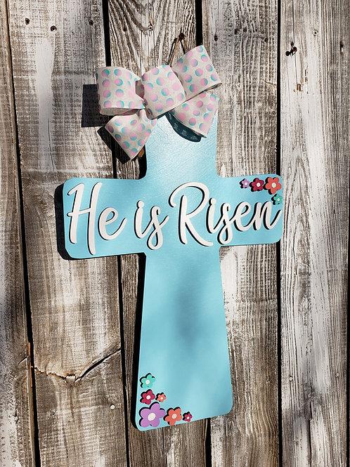 He Is Risen Cross Easter Door Hanger