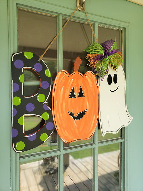 Boo Ghost Pumpkin Wood Halloween Fall Door Hanger