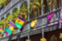 French Quarter balcony Mardi Gras