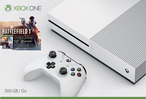 White Xbox One S 500GB Console +1 Controller+1 Game (Battlefield 1) *BN*