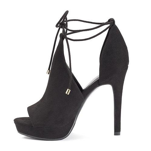 Women's Apt. 9® Black Suede Lace-Up Platform High Heels*BN*