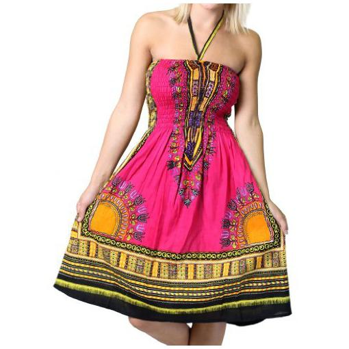 African Pink Stripeless  NEckOnly Dress