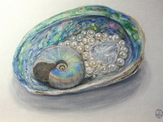 Abalone Fossil and Pearls
