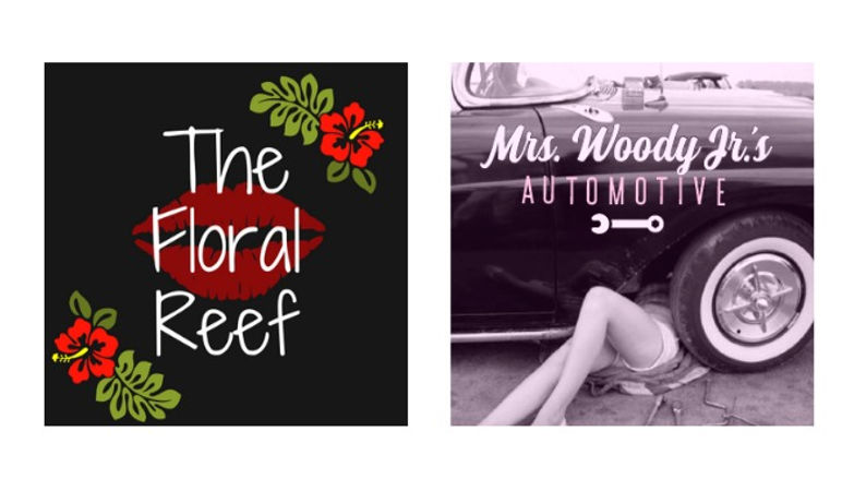 The Floral Reef and Mrs. Woody Jr's Logos
