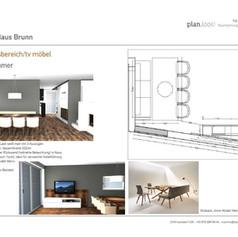 Entwurf TV Möbel und Essbereich
