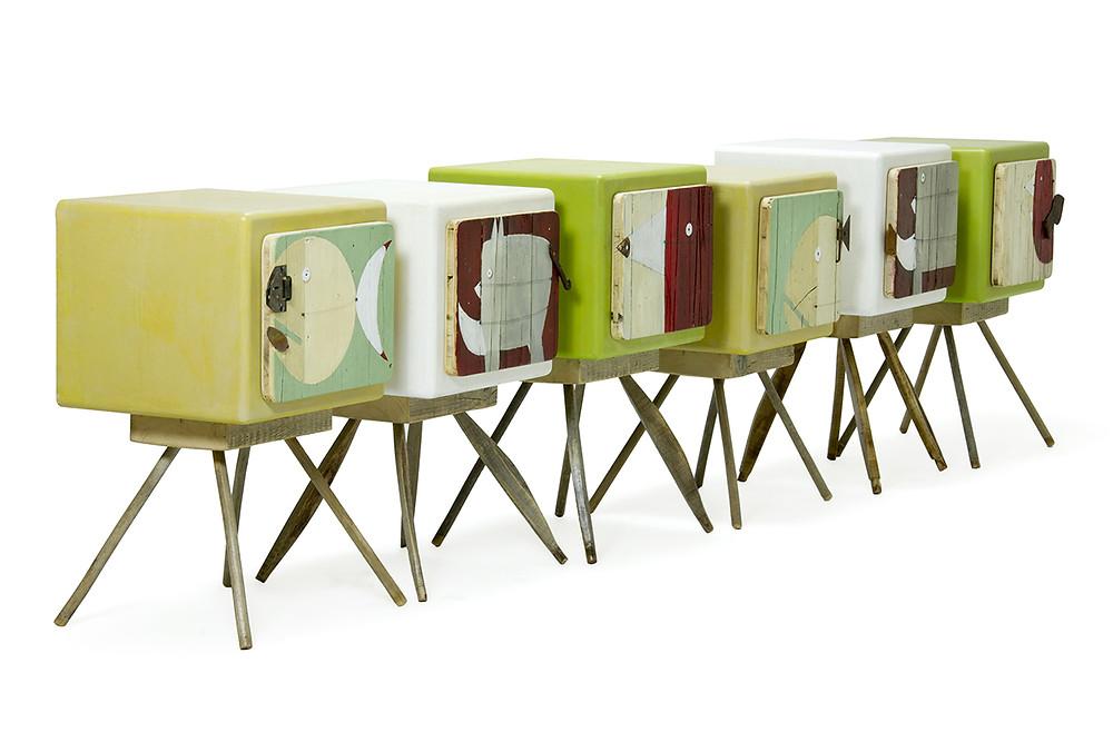 Mobili per camere e camerette bimbi con illustrazioni di animali. Elefante, pesce, uccellino
