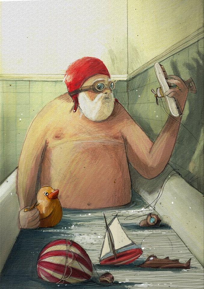 Jules Verne nella vasca da bagno con aeroplani e occhiali da aviatore e paperella fa il bagno con una cuffia rossa