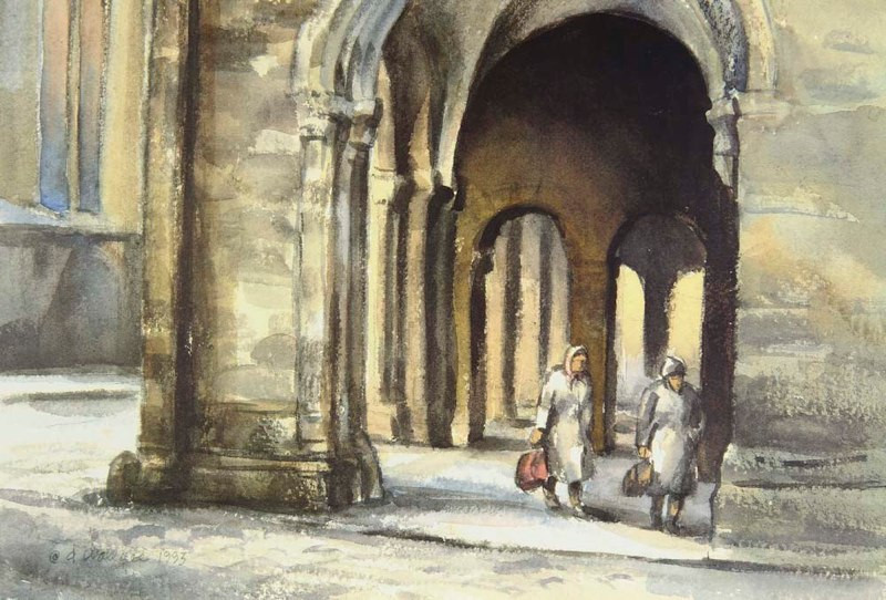 Hurrying Home-Soest Germany, Watercolor,