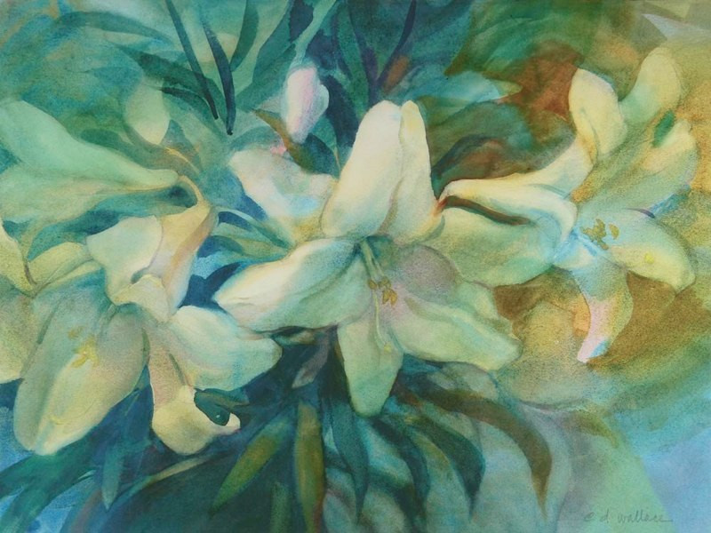 Lilies in Gold and Blue, Watercolor, 22x