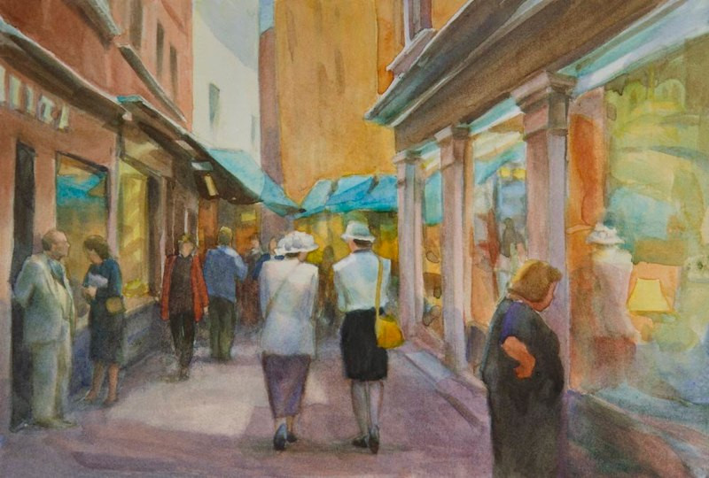 Shopping in Venice, Watercolor, 7.5x11.j