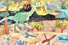 Colin Diep - age 7 Fleeing Monolophosaur
