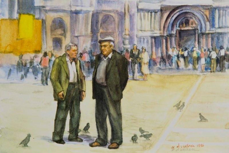 Talking Politics-Venice, Watercolor, 7.5
