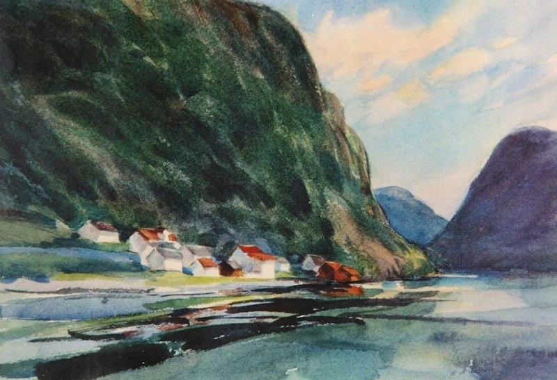Sognefjord Norway, Watercolor, 16x20.jpg
