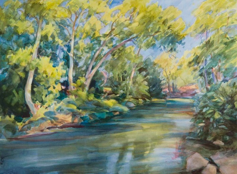 September on Uvas Creek, Watercolor, 22x