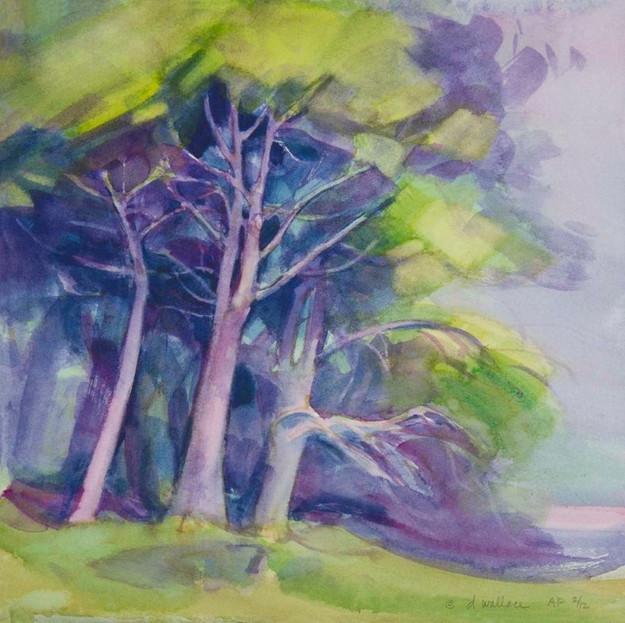 Lavender Fog - Pink Trees, Watercolor, 1