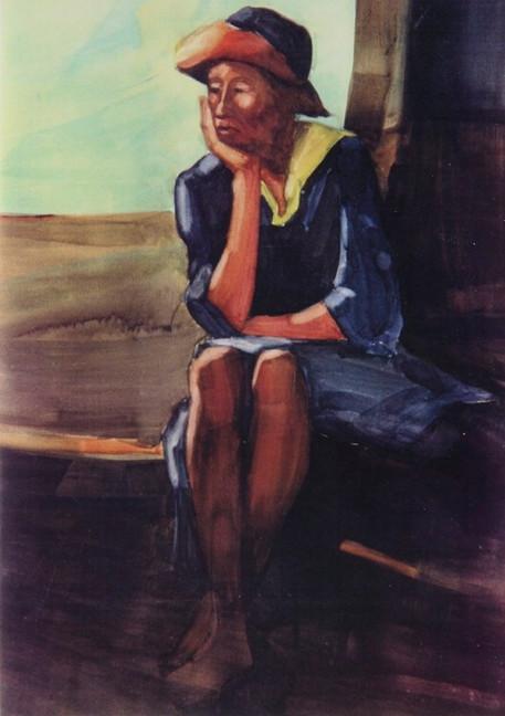 Just Waiting (Bettina), Watercolor, 22x3