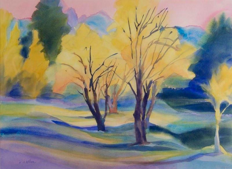 Fall Twilight in Yosemite, Watercolor, 2