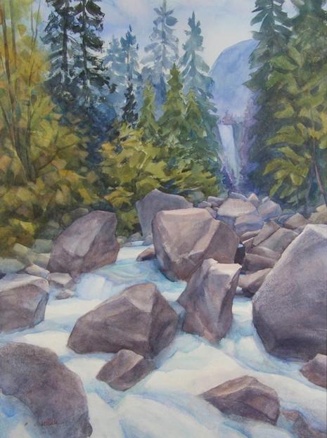 Vernal Falls-Yosemite, Watercolor, 22x30