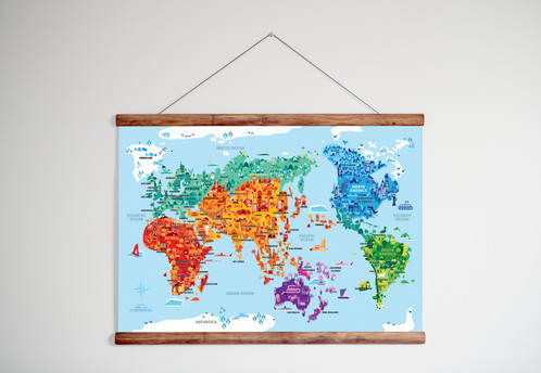 Wonder world poster hangers learning posters children education fun world world map gumiabroncs