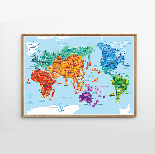 Wonder world world map globe smart art wooden hanger learning poster educational gumiabroncs Choice Image