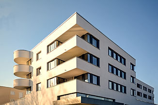 Facade of  a new residential building, n