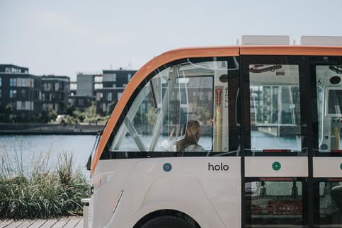 Stemningsbillede af Holos selvkørende bus til hjemmeside. Holo. København, Danmark. 2020.