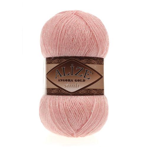 Angora Gold simli 363 св розовый шерсть 20% акрил 75% металлик 5%