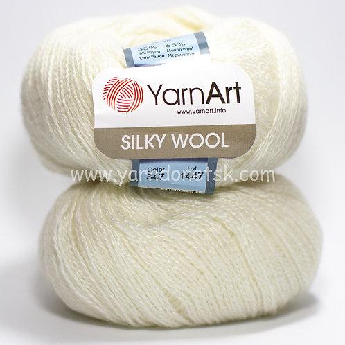 Silky wool 347 белый шерсть меринос 65% шелк 35%