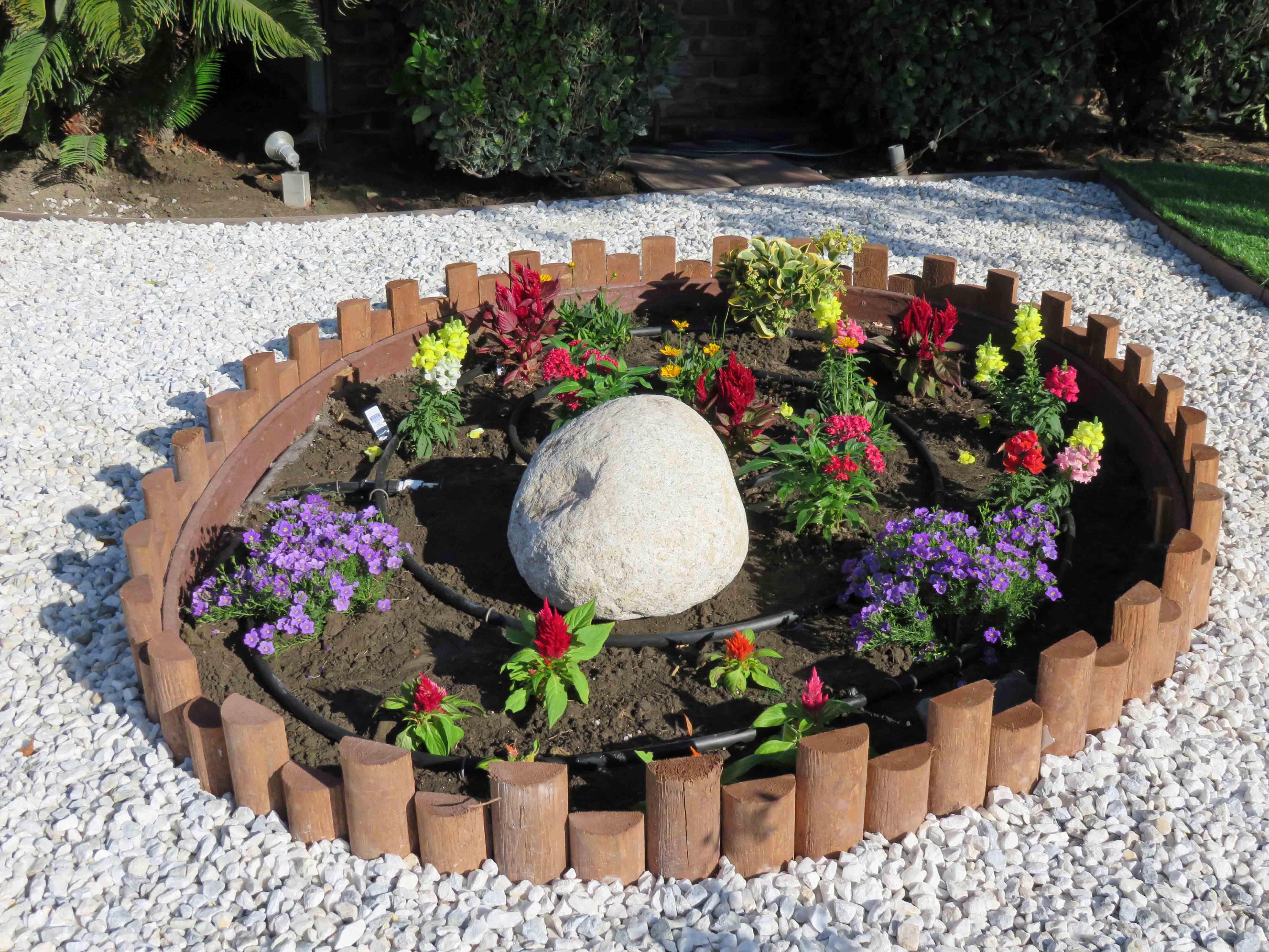 Drip Irrigation in flower bed