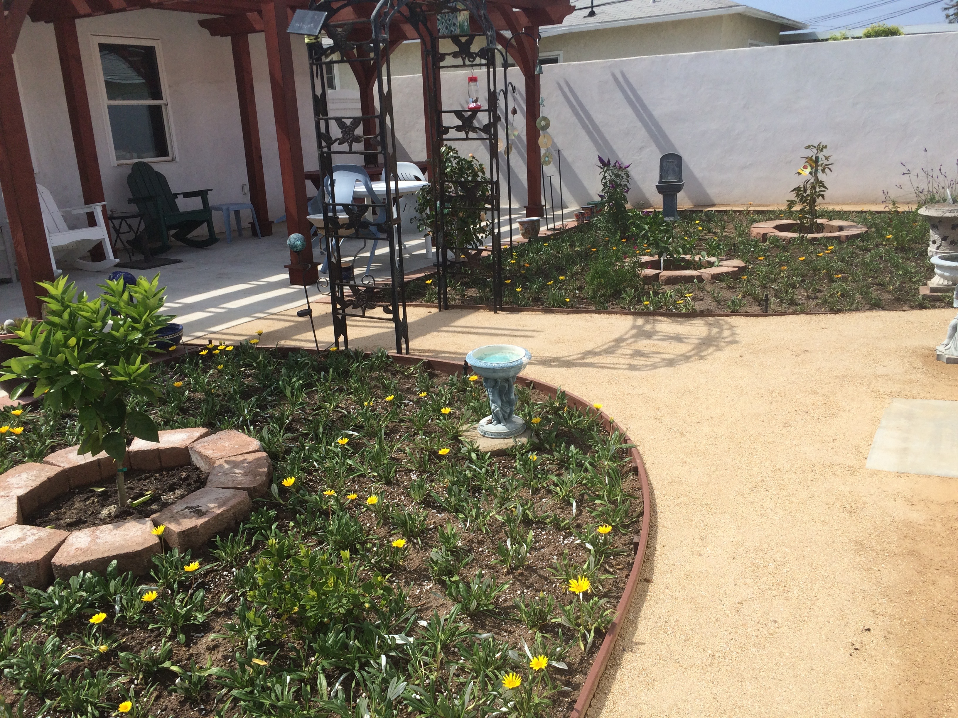 Sand Pathway and Flower Beds