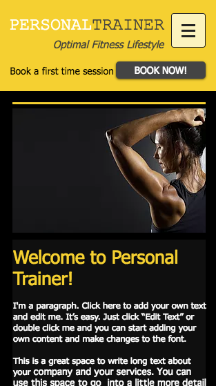 Wix Mobile Template for personal trainer website