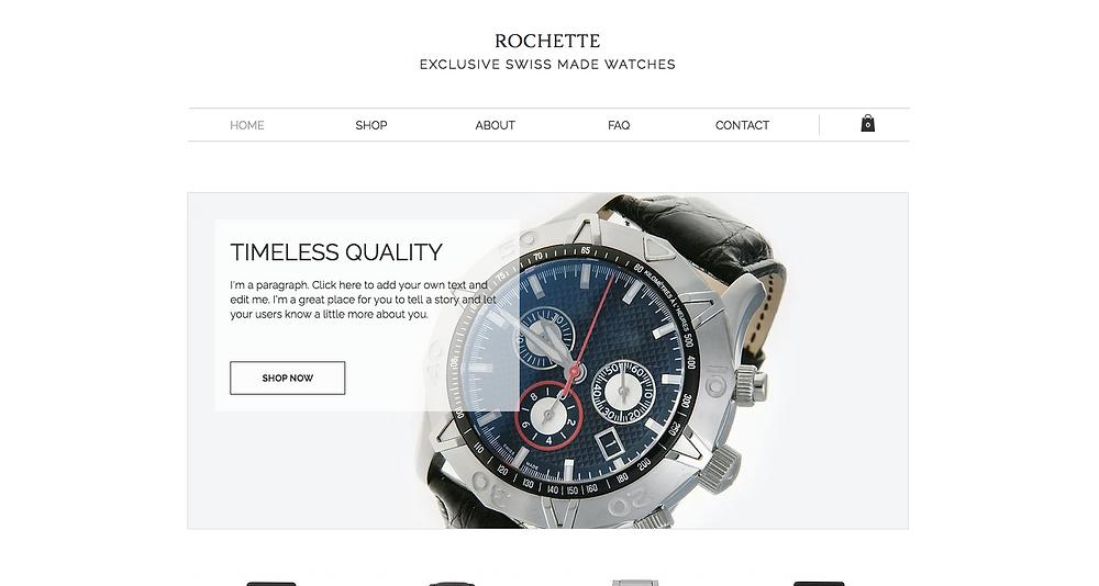 Exclusive Watches Wix Template Desktop