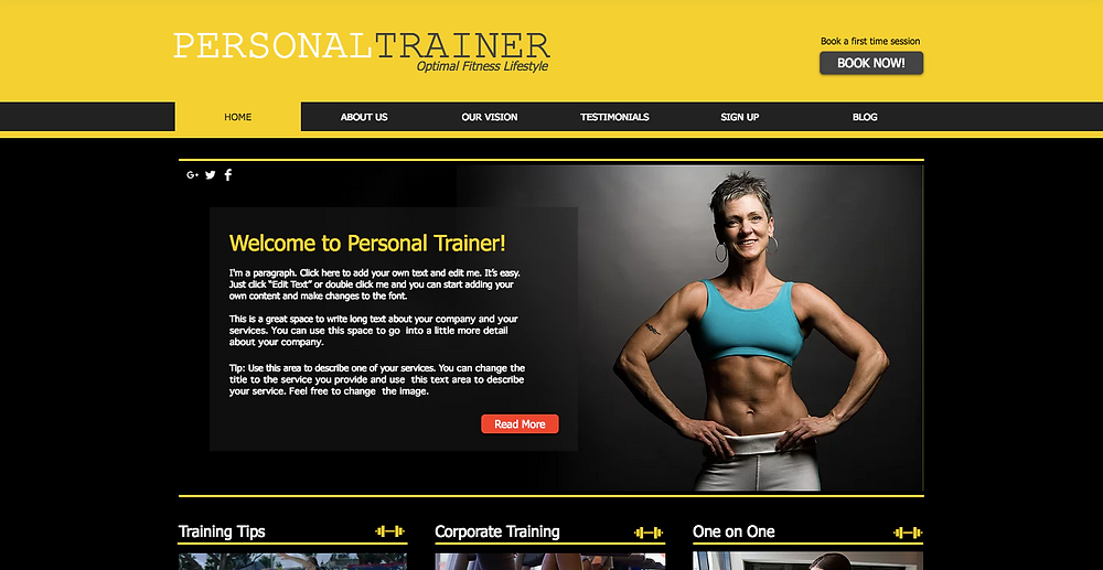 Wix Template for Personal Trainer