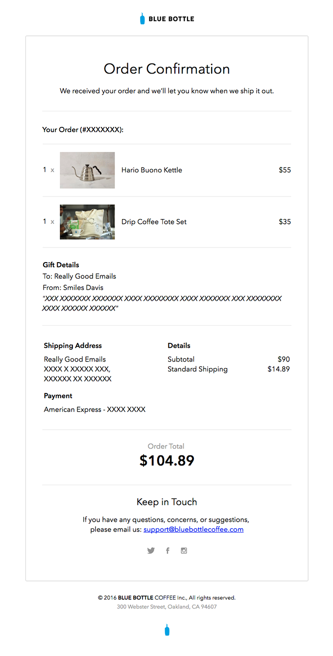 Customer service eCommerce email example