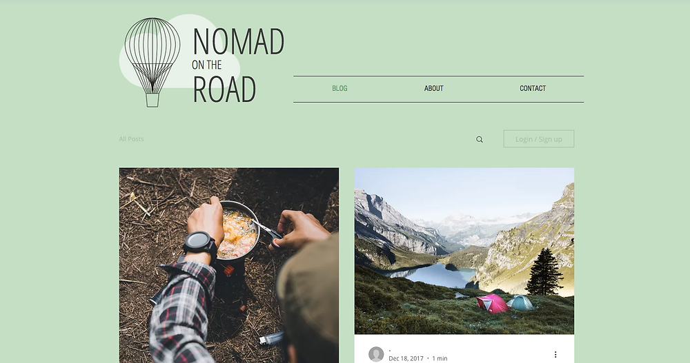 Travel blog website template from Wix