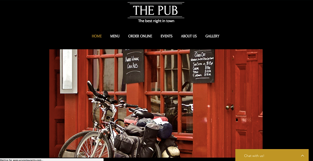 Pub and Bar Wix Website Template