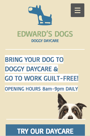 Doggy Day Care Wix Template Mobile