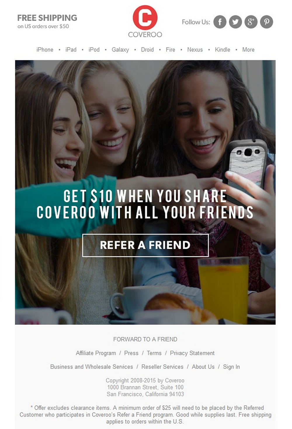 eCommerce referral email example