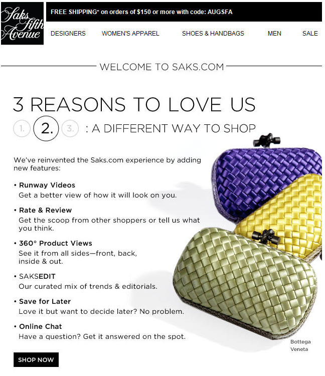 eCommerce welcome email example
