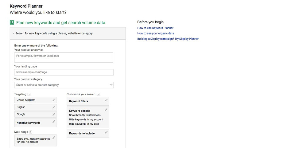 Getting started with SEO - Google Keyword Planner